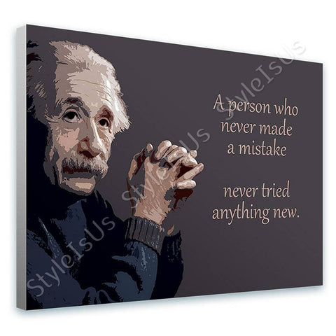 Alonline Designs Albert Einstein Never made a mistake | Canvas, Posters, Prints & Stickers - StyleIsUS.com
