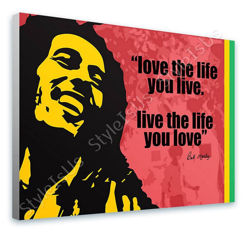 Alonline Designs Bob Marley Love The Life | Canvas, Posters, Prints & Stickers - StyleIsUS.com