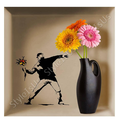 Alonline Designs NICHE Banksy Flower Thrower | Canvas, Posters, Prints & Stickers - StyleIsUS.com