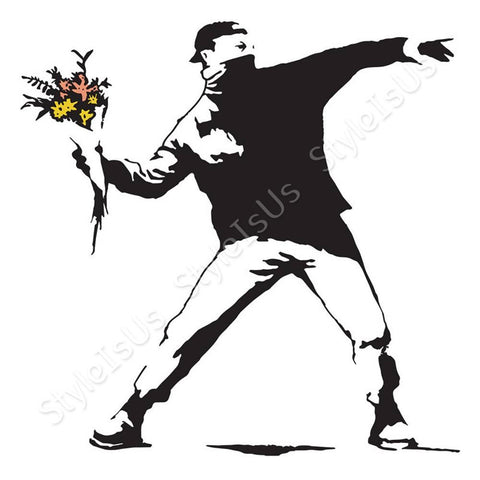 Alonline Designs Banksy Flower Thrower | Canvas, Posters, Prints & Stickers - StyleIsUS.com