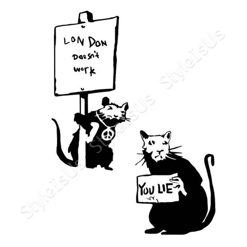 Alonline Designs Banksy rat you lie London does not work Set Of 2 | Canvas, Posters, Prints & Stickers - StyleIsUS.com