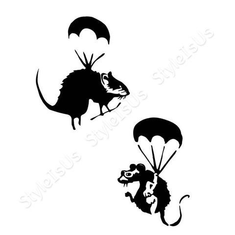 Alonline Designs Banksy rats flying Set Of 2 | Canvas, Posters, Prints & Stickers - StyleIsUS.com