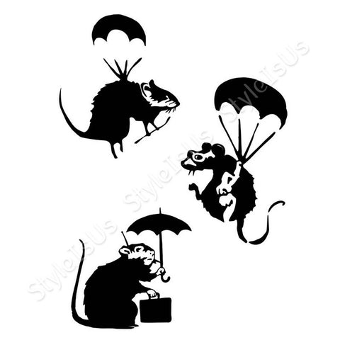 Alonline Designs Banksy rats flying with umbrella Set Of 3 | Canvas, Posters, Prints & Stickers - StyleIsUS.com