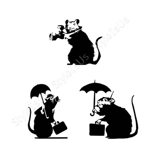 Alonline Designs Banksy rats with umbrella Set Of 3 | Canvas, Posters, Prints & Stickers - StyleIsUS.com