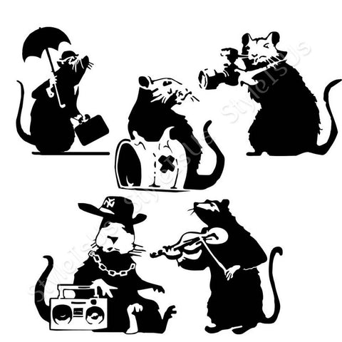 Alonline Designs Banksy 5 rats music and umbrella Set Of 5 | Canvas, Posters, Prints & Stickers - StyleIsUS.com