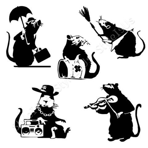 Alonline Designs Banksy 5 rats music beat and umbrella Set Of 5 | Canvas, Posters, Prints & Stickers - StyleIsUS.com