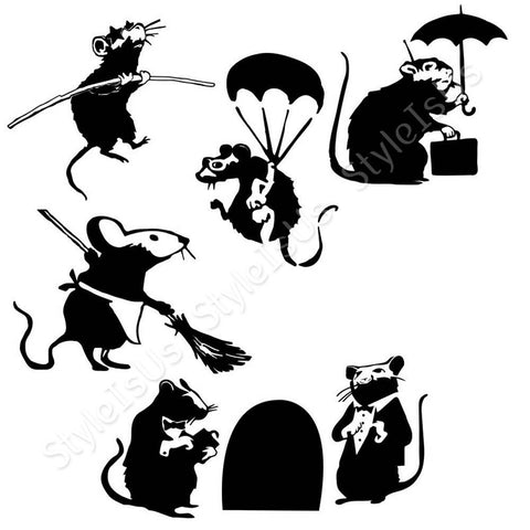 Alonline Designs Banksy 6 rat workers Set Of 6 | Canvas, Posters, Prints & Stickers - StyleIsUS.com