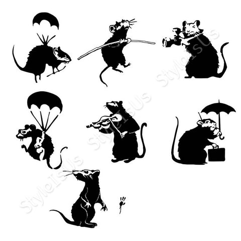 Alonline Designs Banksy 7 type of rats Set Of 7 | Canvas, Posters, Prints & Stickers - StyleIsUS.com
