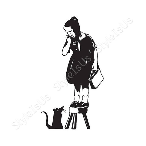 Alonline Designs Banksy Girl Scared of Rat | Canvas, Posters, Prints & Stickers - StyleIsUS.com