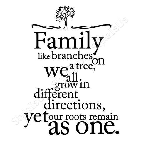 Alonline Designs Family like branches typography vinyl sticker | Canvas, Posters, Prints & Stickers - StyleIsUS.com