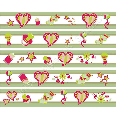 Alonline Designs strip border heart and stars boy | Canvas, Posters, Prints & Stickers - StyleIsUS.com