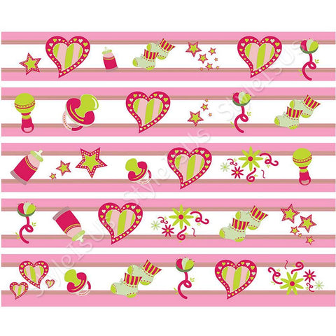 Alonline Designs strip border heart and stars girl | Canvas, Posters, Prints & Stickers - StyleIsUS.com