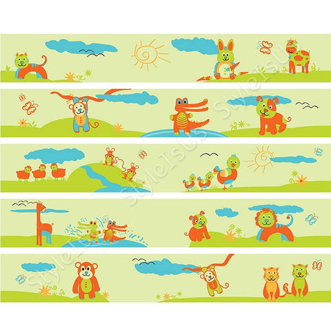 Alonline Designs strip border animals in nature for boy | Canvas, Posters, Prints & Stickers - StyleIsUS.com