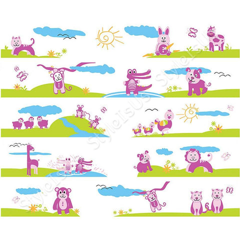 Alonline Designs strip border animals in nature for girl | Canvas, Posters, Prints & Stickers - StyleIsUS.com