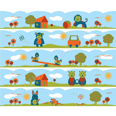 Alonline Designs strip border animals in nature wavy boy | Canvas, Posters, Prints & Stickers - StyleIsUS.com