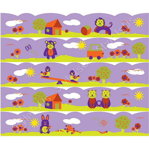 Alonline Designs strip border animals in nature wavy girl | Canvas, Posters, Prints & Stickers - StyleIsUS.com