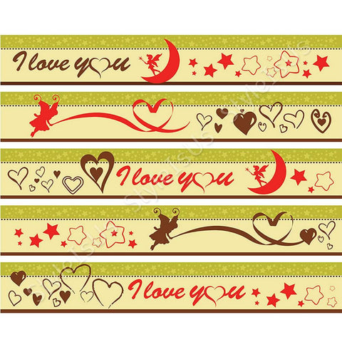 Alonline Designs strip border sticker i love you stars and hearts | Canvas, Posters, Prints & Stickers - StyleIsUS.com