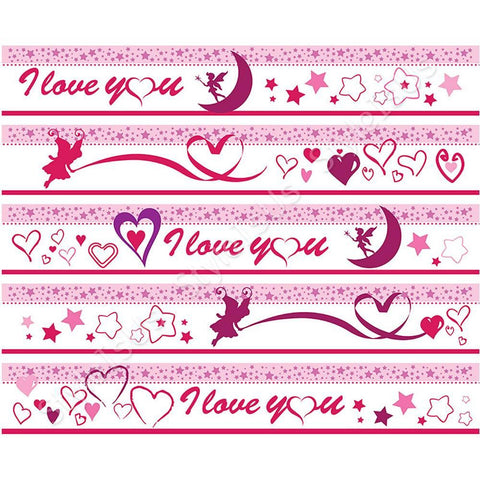 Alonline Designs strip border sticker i love you hearts | Canvas, Posters, Prints & Stickers - StyleIsUS.com