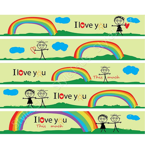 Alonline Designs strip border sticker i love you this much | Canvas, Posters, Prints & Stickers - StyleIsUS.com