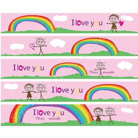 Alonline Designs strip border sticker i love you this much girl | Canvas, Posters, Prints & Stickers - StyleIsUS.com