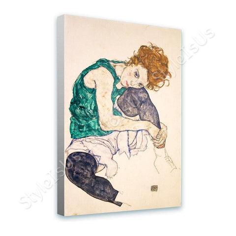 Egon Schiele Sitting Woman Legs Drawn Up | Canvas, Posters, Prints & Stickers - StyleIsUS.com