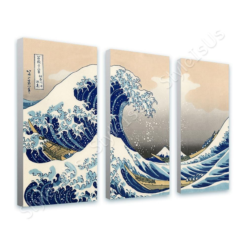 Katsushika Hokusai The great Wave 3 Panels | Canvas, Posters, Prints & Stickers - StyleIsUS.com