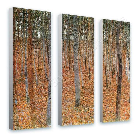 Gustav Klimt Beechwood Forest 3 Panels | Canvas, Posters, Prints & Stickers - StyleIsUS.com