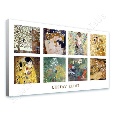 Gustav Klimt Collage 8 tree kiss lady fan houses | Canvas, Posters, Prints & Stickers - StyleIsUS.com