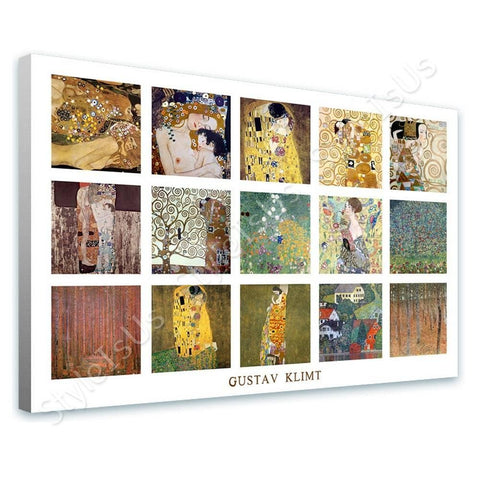 Gustav Klimt Collage 15 mother child kiss beechwood | Canvas, Posters, Prints & Stickers - StyleIsUS.com