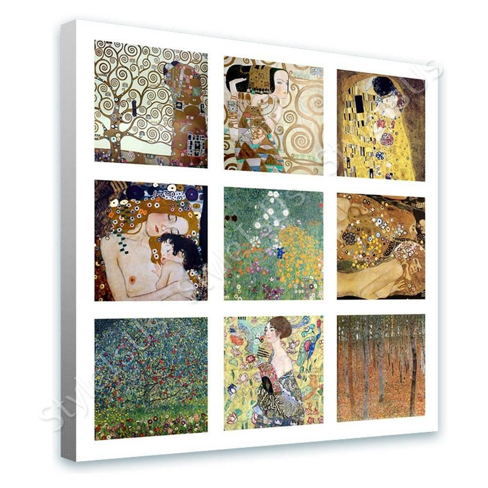 Gustav Klimt Collage 9 kiss lady fan trees | Canvas, Posters, Prints & Stickers - StyleIsUS.com
