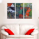 Gustav Klimt Houses at Unterach 3 Panels | Canvas, Posters, Prints & Stickers - StyleIsUS.com