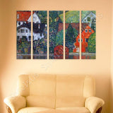 Gustav Klimt Houses at Unterach 5 Panels | Canvas, Posters, Prints & Stickers - StyleIsUS.com