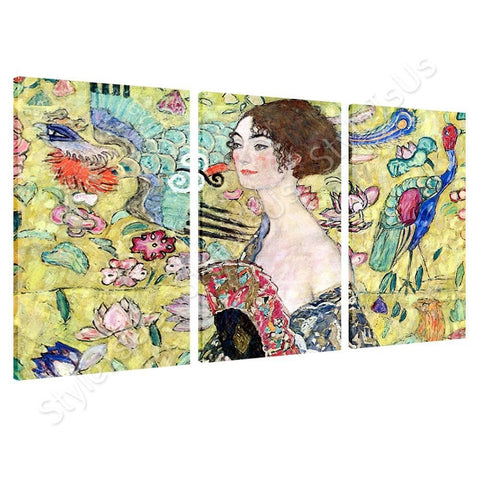 Gustav Klimt Lady with a Fan 3 Panels | Canvas, Posters, Prints & Stickers - StyleIsUS.com