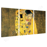 Gustav Klimt The Kiss 3 Panels | Canvas, Posters, Prints & Stickers - StyleIsUS.com