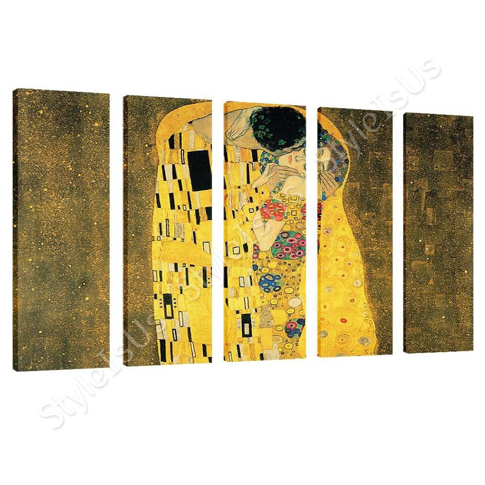 Gustav Klimt The Kiss 5 Panels Canvas Posters Prints Stickers