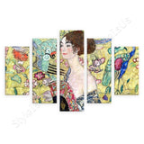 Gustav Klimt Lady with a Fan 5 Panels | Canvas, Posters, Prints & Stickers - StyleIsUS.com