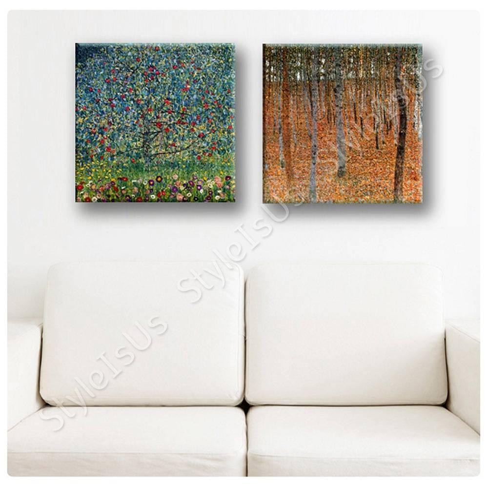 Gustav Klimt forest apple tree Set Of 2 | Canvas, Posters, Prints & Stickers - StyleIsUS.com