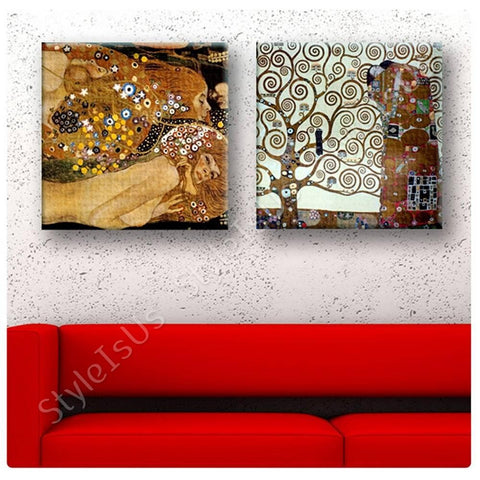 Gustav Klimt water snakes tree of life Set Of 2 | Canvas, Posters, Prints & Stickers - StyleIsUS.com