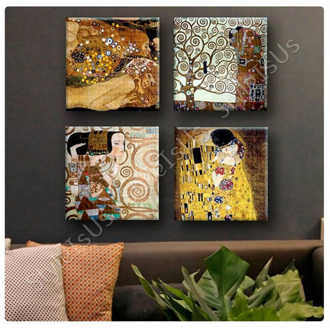 Gustav Klimt water serpents tree kiss expectation Set Of 4 | Canvas, Posters, Prints & Stickers - StyleIsUS.com