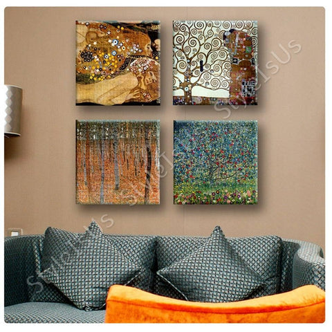 Gustav Klimt forest apple tree woman Set Of 4 | Canvas, Posters, Prints & Stickers - StyleIsUS.com