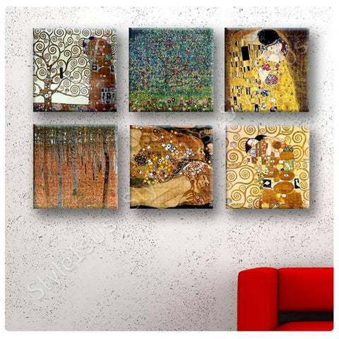 Gustav Klimt apple tree lisfe kiss water Set Of 6 | Canvas, Posters, Prints & Stickers - StyleIsUS.com
