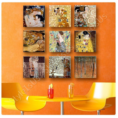 Gustav Klimt mother kiss tree life fan Set Of 9 | Canvas, Posters, Prints & Stickers - StyleIsUS.com