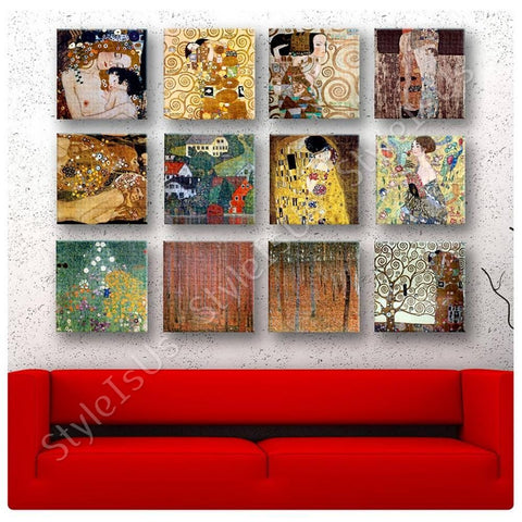 Gustav Klimt kiss tree mother lady Set Of 12 | Canvas, Posters, Prints & Stickers - StyleIsUS.com
