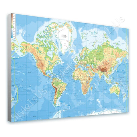 World Map Physical Modern | Canvas, Posters, Prints & Stickers - StyleIsUS.com