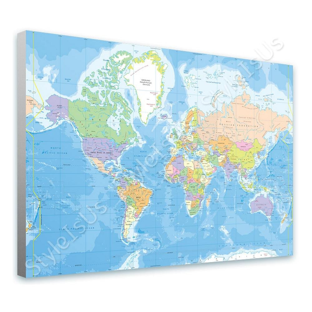 World Map Political Modern | Canvas, Posters, Prints & Stickers - StyleIsUS.com