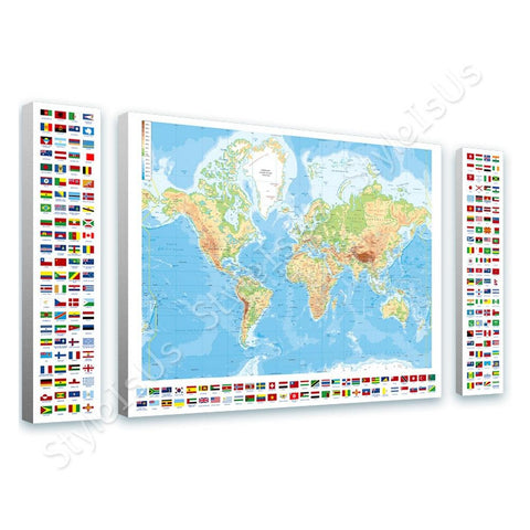 World Map Physical Modern Flags 3 Panels | Canvas, Posters, Prints & Stickers - StyleIsUS.com