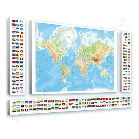 World Map Physical Modern Flags 4 Panels | Canvas, Posters, Prints & Stickers - StyleIsUS.com