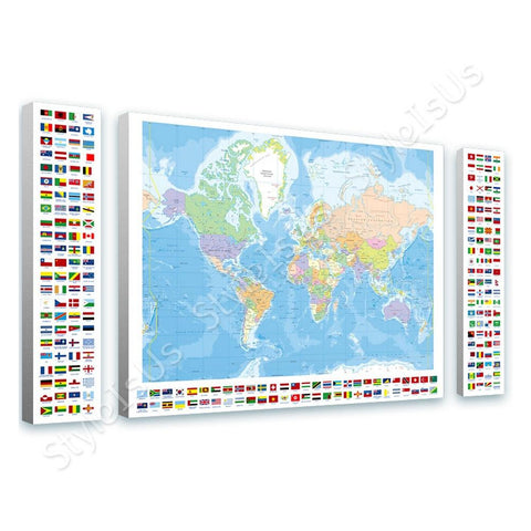 World Map Political Modern World Map Flags 3 Panels | Canvas, Posters, Prints & Stickers - StyleIsUS.com