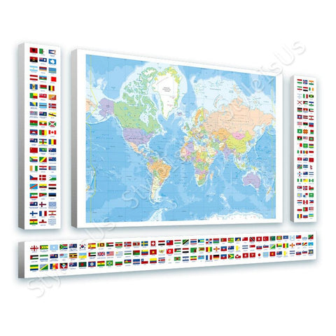 World Map Political Modern Flags 4 Panels | Canvas, Posters, Prints & Stickers - StyleIsUS.com