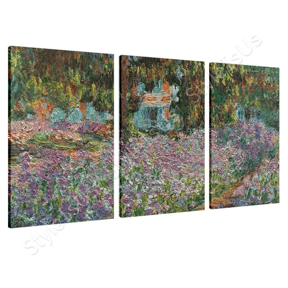 Claude Monet Irises in monets garden  3 Panels | Canvas, Posters, Prints & Stickers - StyleIsUS.com